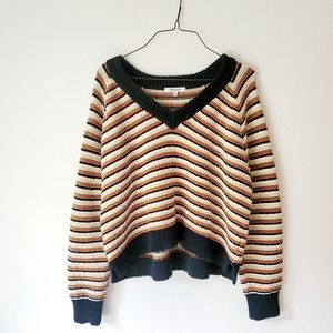Madewell Arden V- Neck Striped Pullover Sweater